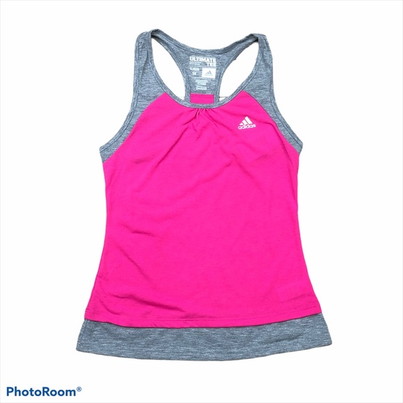 Adidas Ultimate pink and gray racer tank top